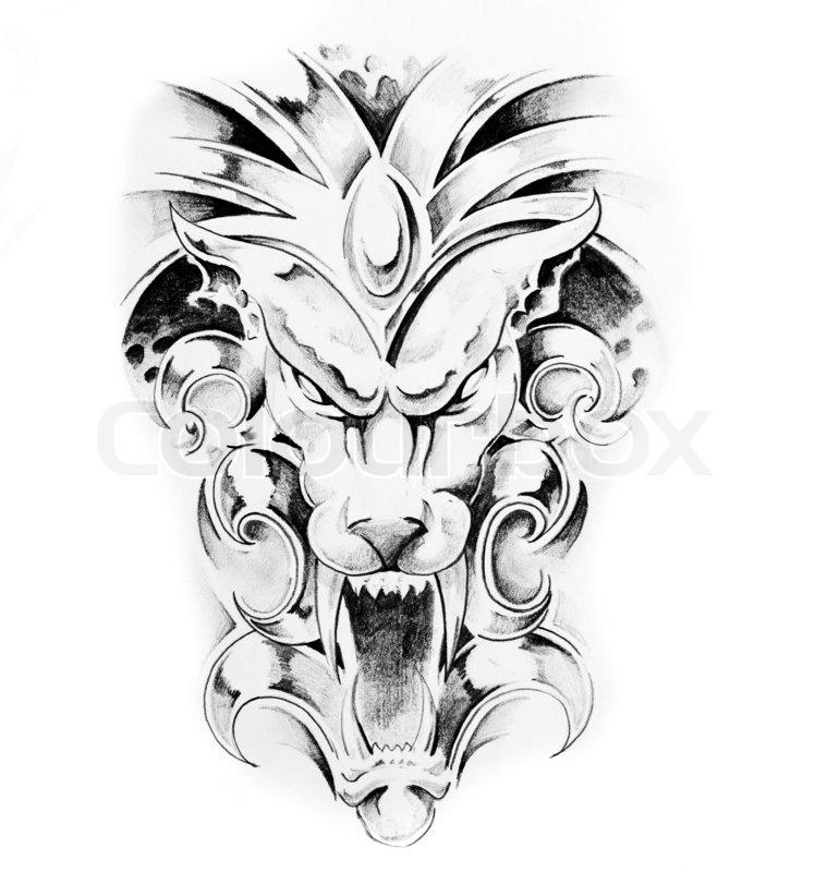 759x800 Sketch Of Tattoo Art, Gargoyle Lion Illustration On Vintage Paper