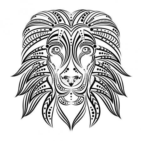 450x450 Sketch Of Tattoo Lion With Horns Stock Vector Lviktoria25