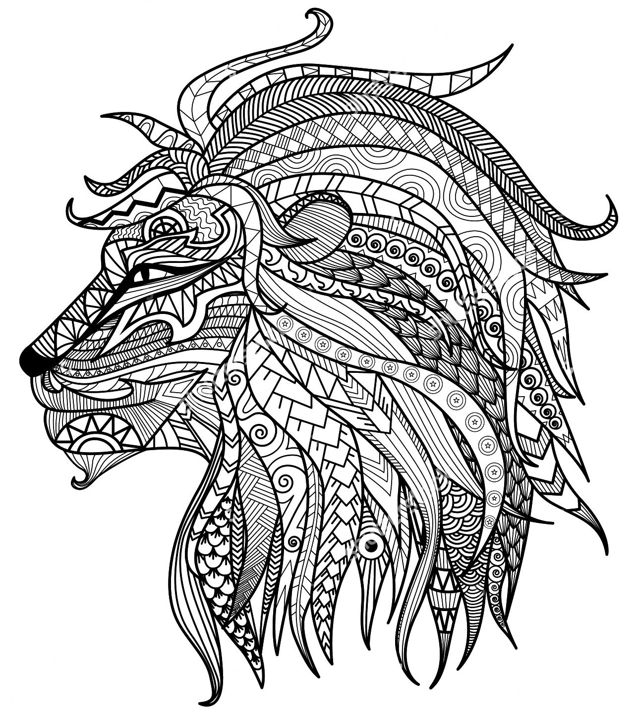 1283x1456 Adult Coloring Pages Lion Head Adult Coloring Pages