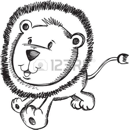 448x450 Notebook Doodle Sketch Lion Cub Vector Illustration Drawing Art