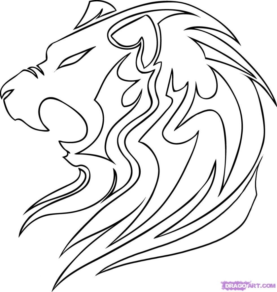 973x1024 Drawing Of A Lion Draw A Tribal Lion Step Step Drawing Sheets