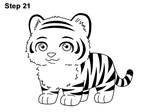 500x386 How To Draw A Tiger (Cartoon)
