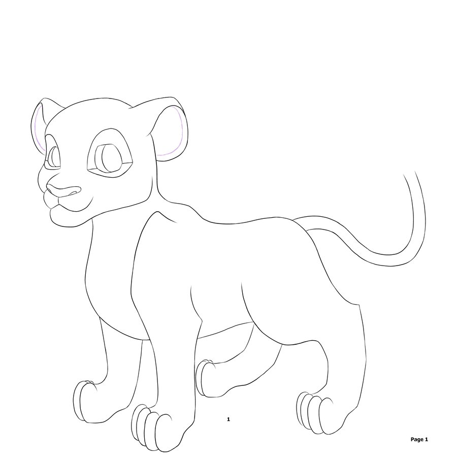 900x900 Image Gallery Lion Cub Line Drawing
