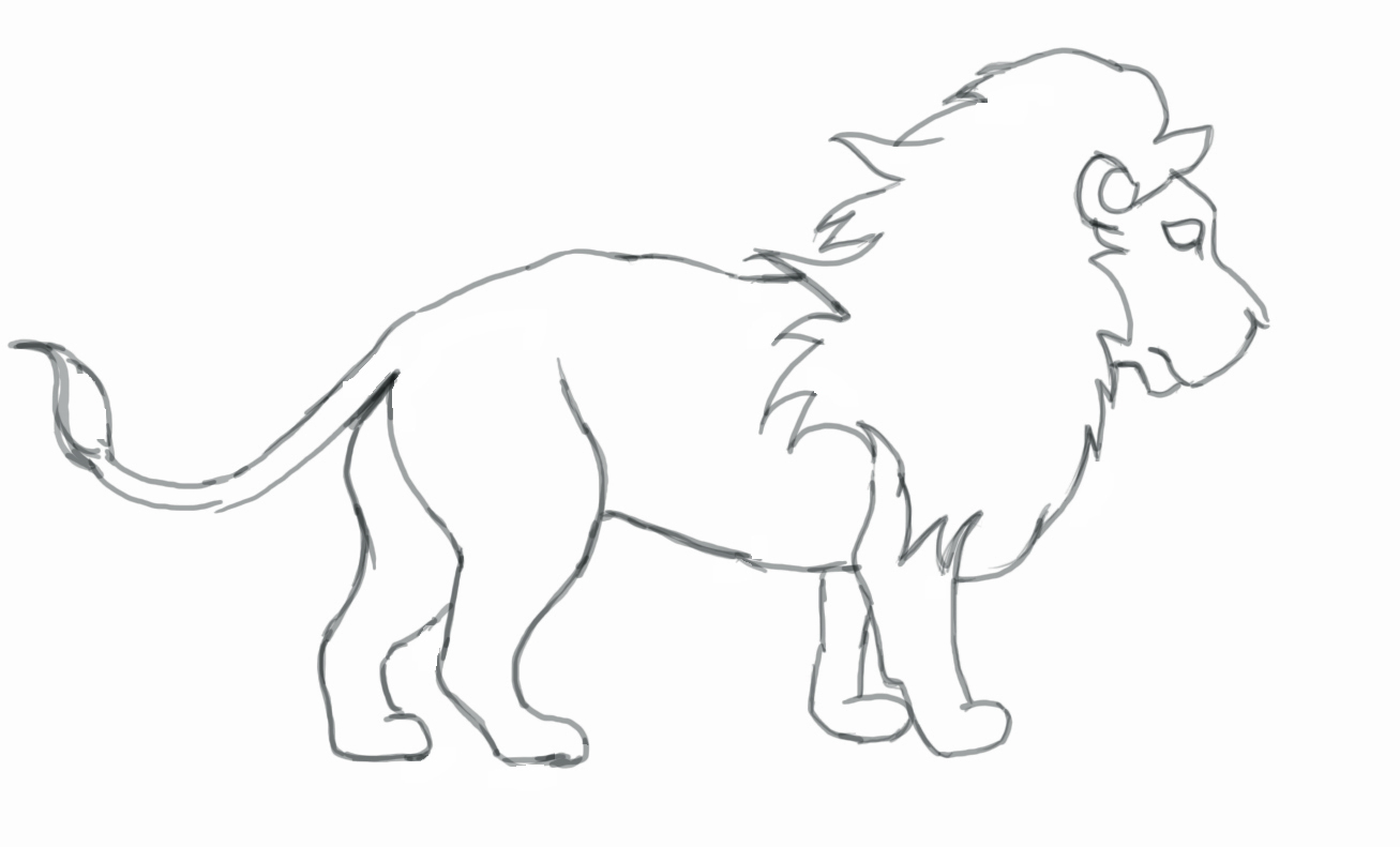 1307x791 Lion Drawings Easy How To Draw A Lion
