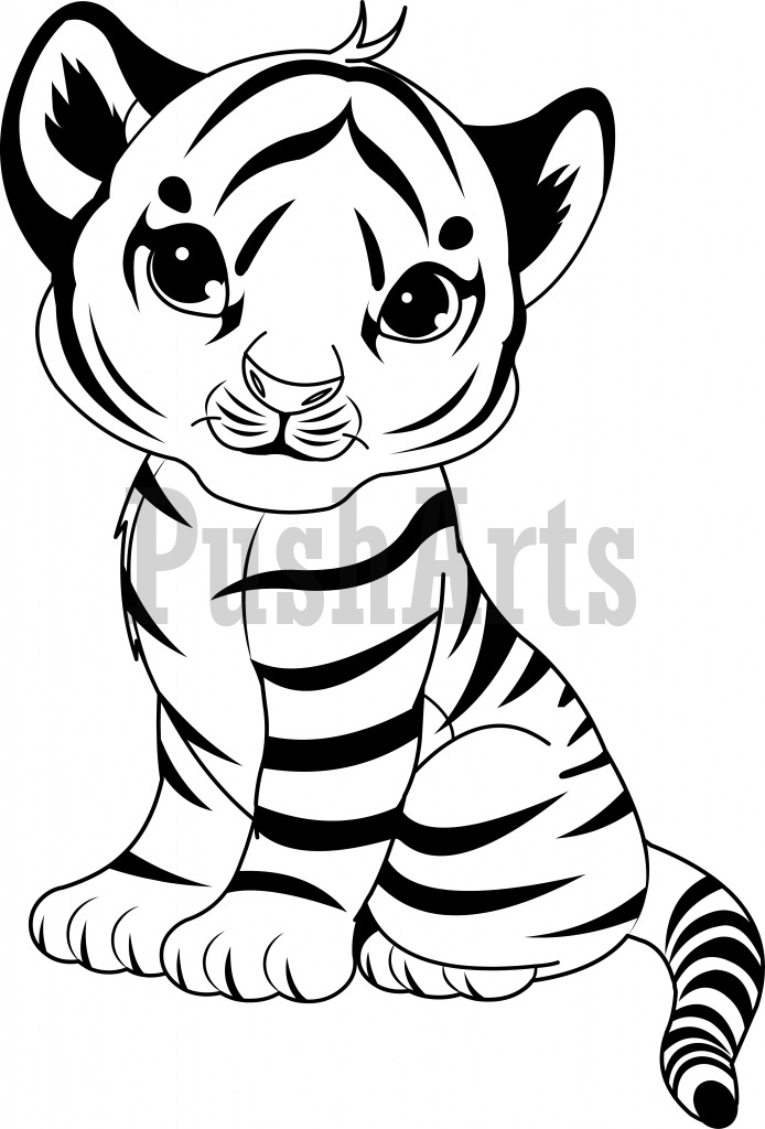 694x1024 Tiger Cub Clipart Black And White