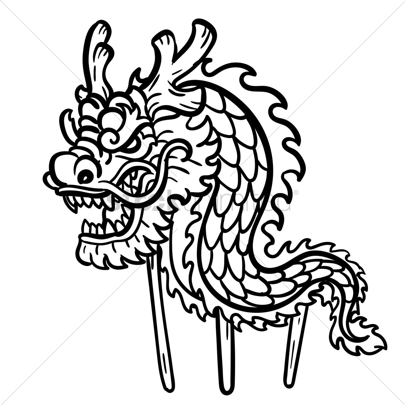 1300x1300 Dragon Dance With Wooden Poles Vector Image