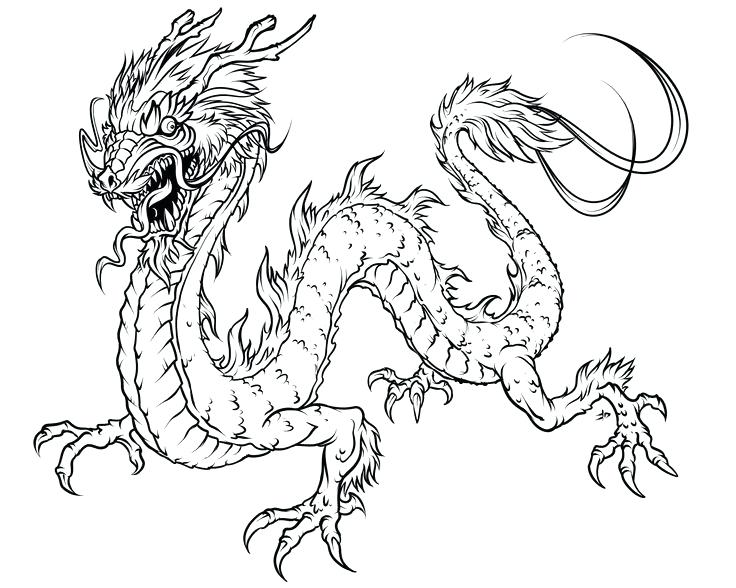 736x588 Elegant Chinese Dragon Coloring Page For China Coloring Pages