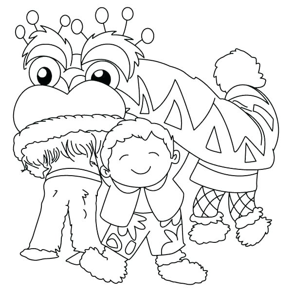 Lion dance drawing at free for personal for Chinese lion coloring page