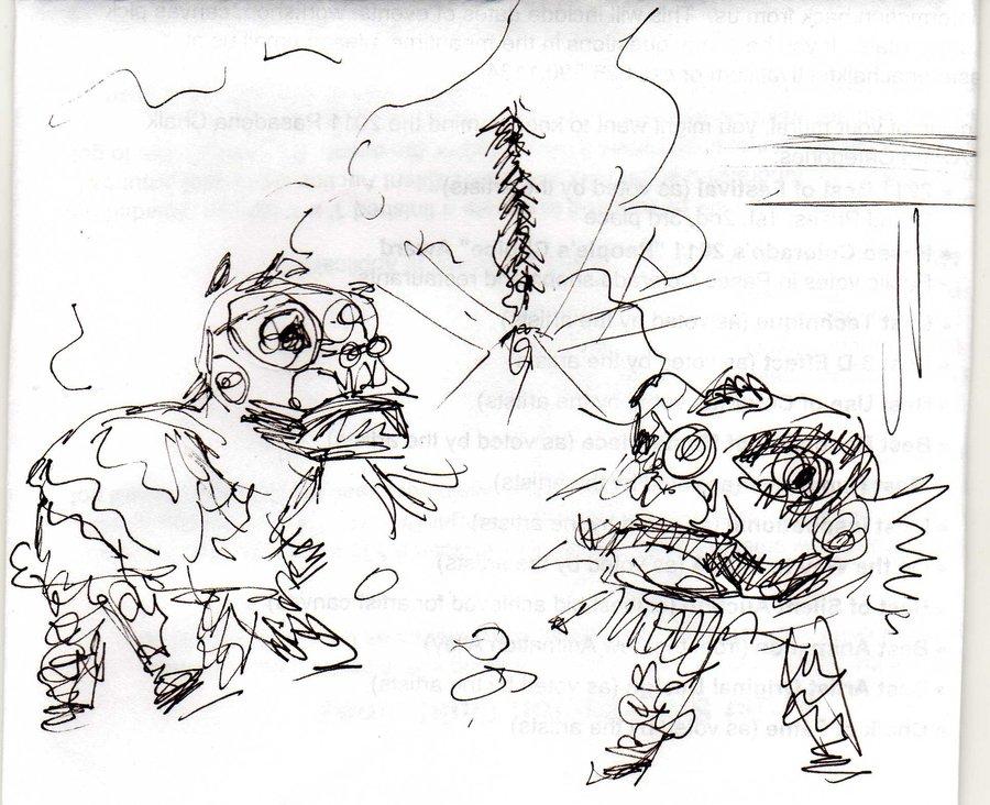 900x732 Chinese Lion Dance Sketch By Jigglytofu