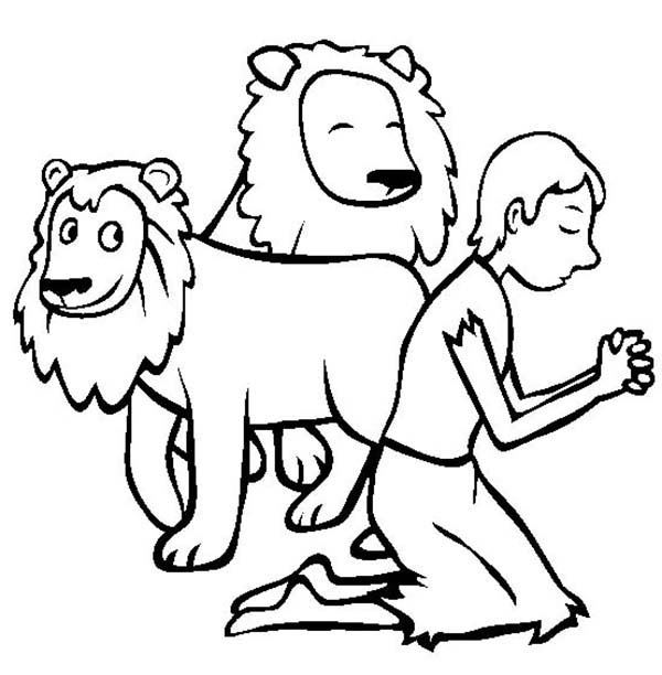 600x612 Daniel Pray In And The Lions Den Coloring Page Bible Club