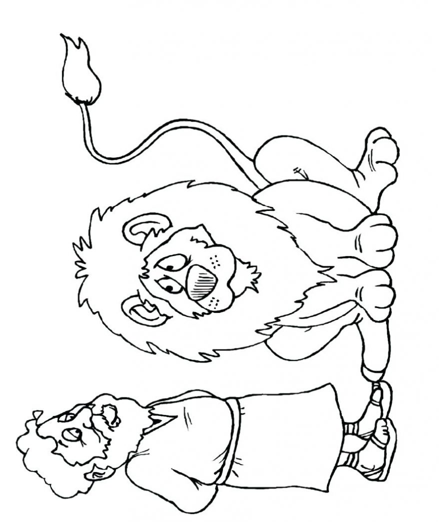 878x1044 Coloring Page For Kids Free Bible Printable Within And The Lions