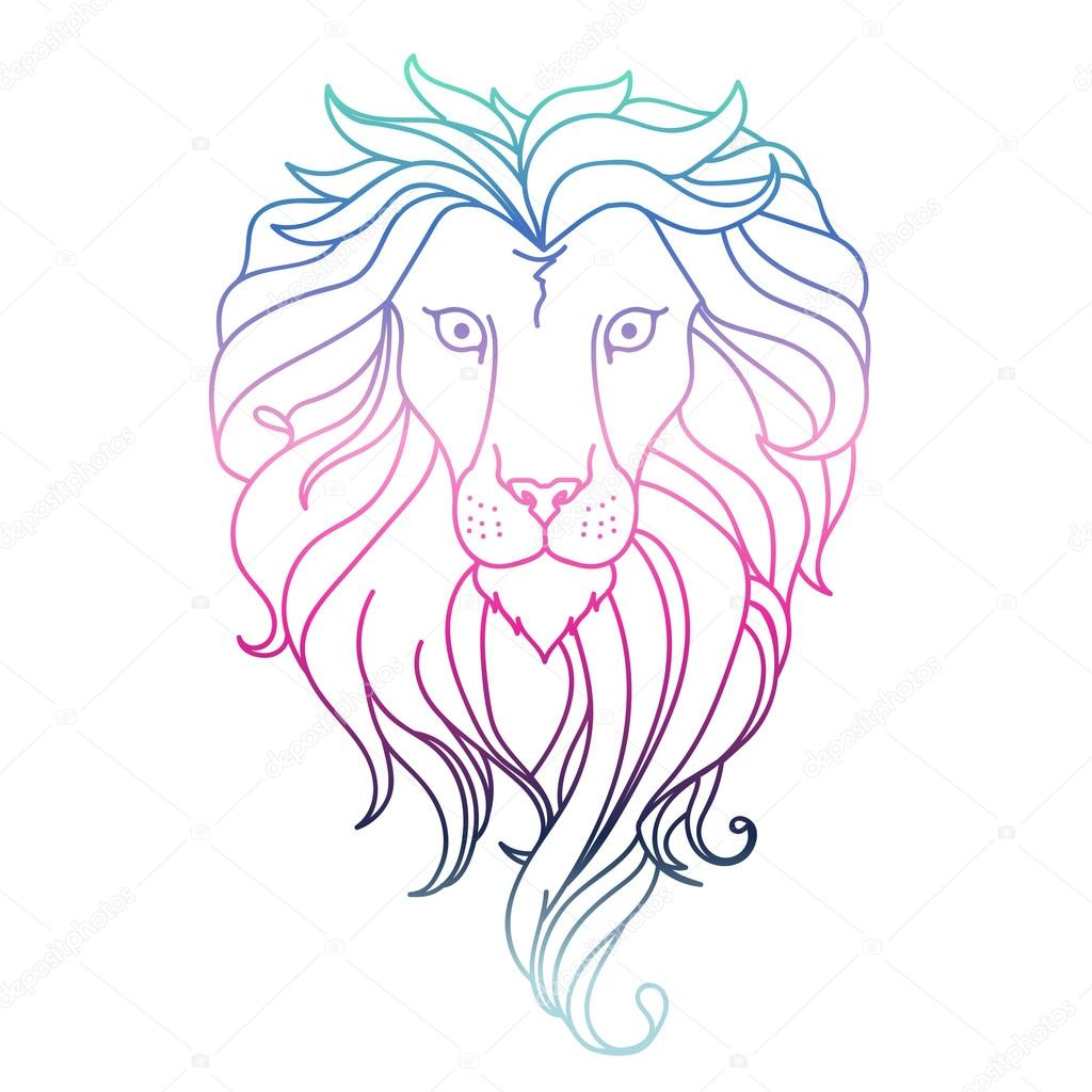 1024x1024 Drawing lion. Vector — Stock Vector © Annabut