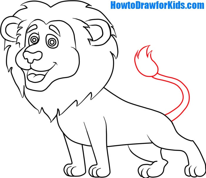 700x605 How to Draw a Lion for Kids HowtoDrawforKids