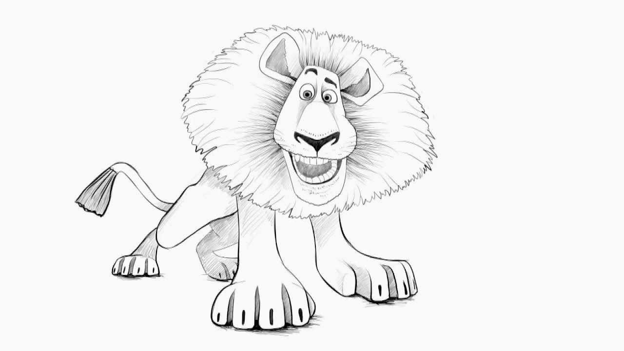1280x720 How to draw a Lion (Alex) from MadagascarÊàê íàðèñîâàòü Ëüâà