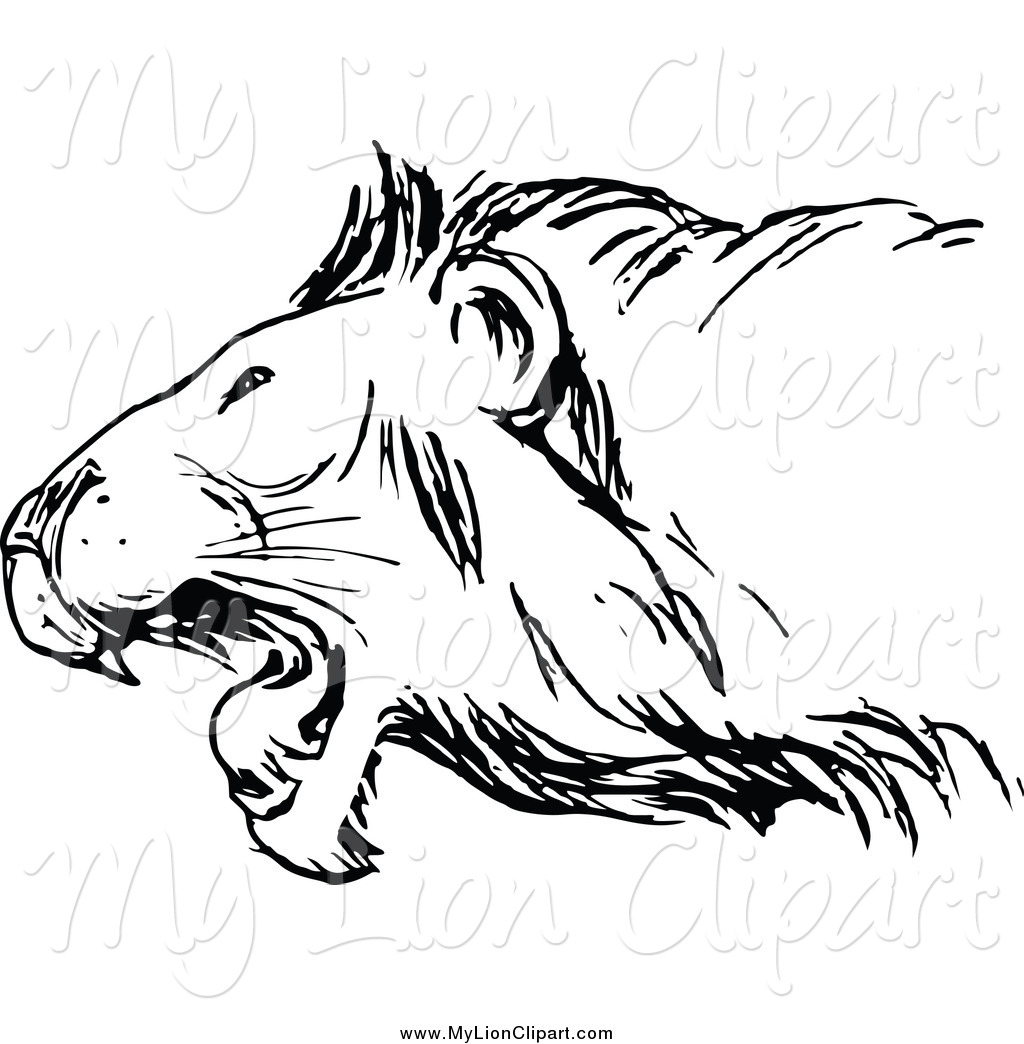 1024x1044 Clipart Of A Black And White Sketched Roaring Lion By Prawny