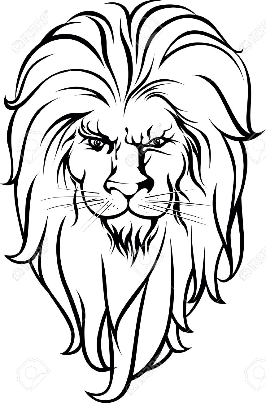 859x1300 Lion Head Black And White Design. Royalty Free Cliparts, Vectors