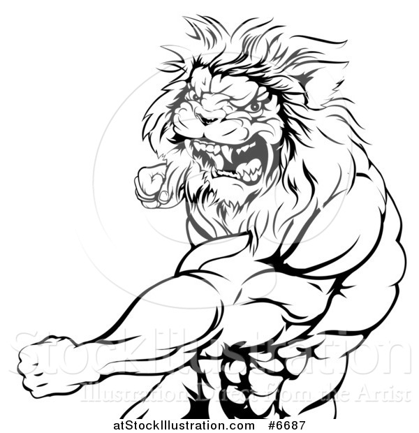 600x620 Vector Illustration Of A Black And White Tough Angry Muscular Lion