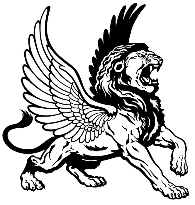 665x700 Roaring Winged Lion Black White Wall Mural We Live