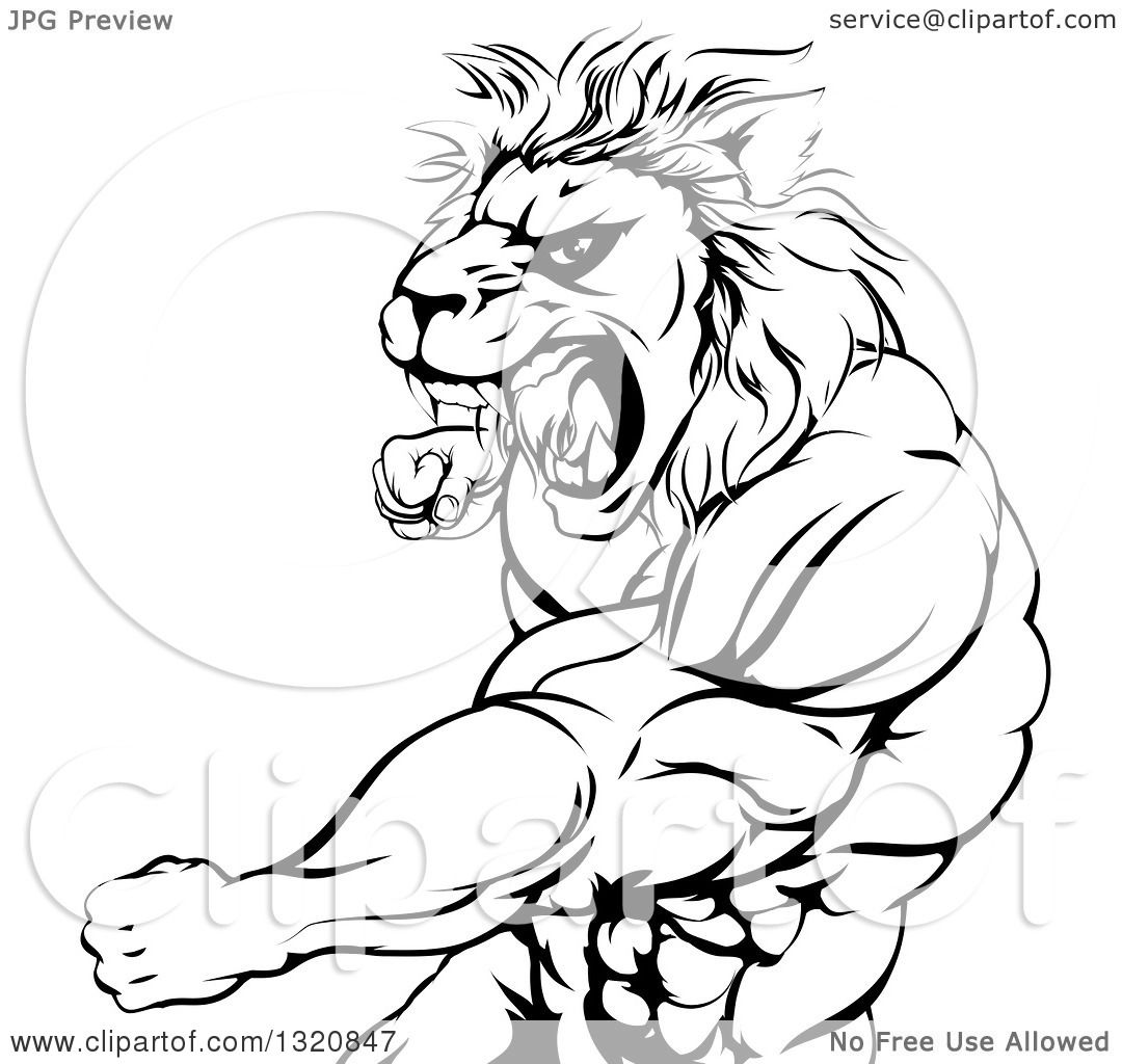 1080x1024 Clipart Of A Black And White Fierce Angry Muscular Lion Man