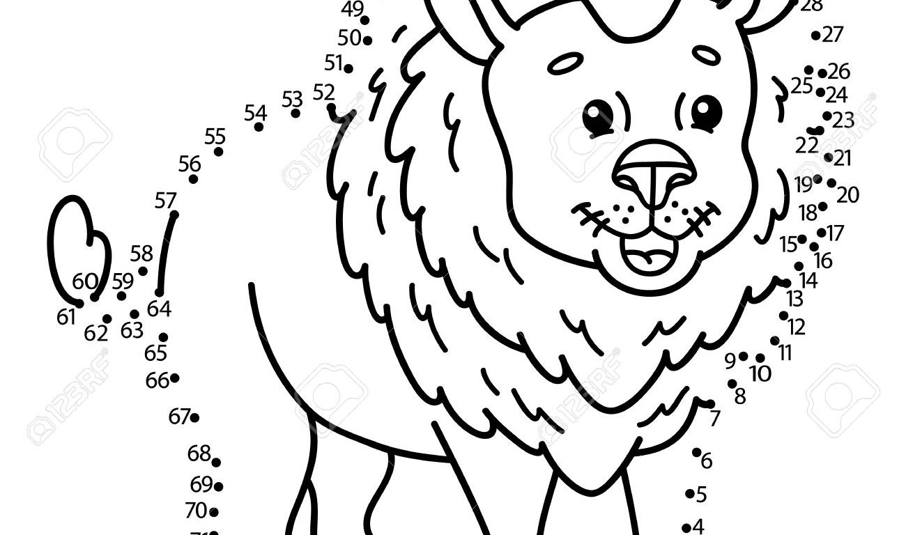1300x768 Lion Connect The Dots Worksheets Printable For Free Dot