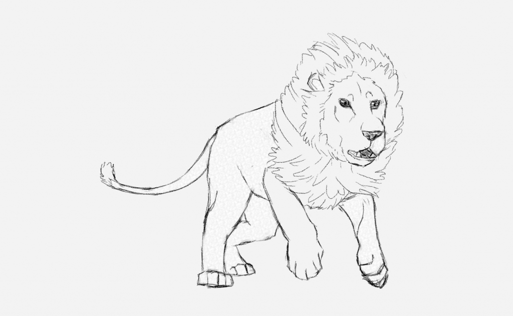 1024x631 Easy Drawing Of A Lion How To Draw A Male Lion Running Art