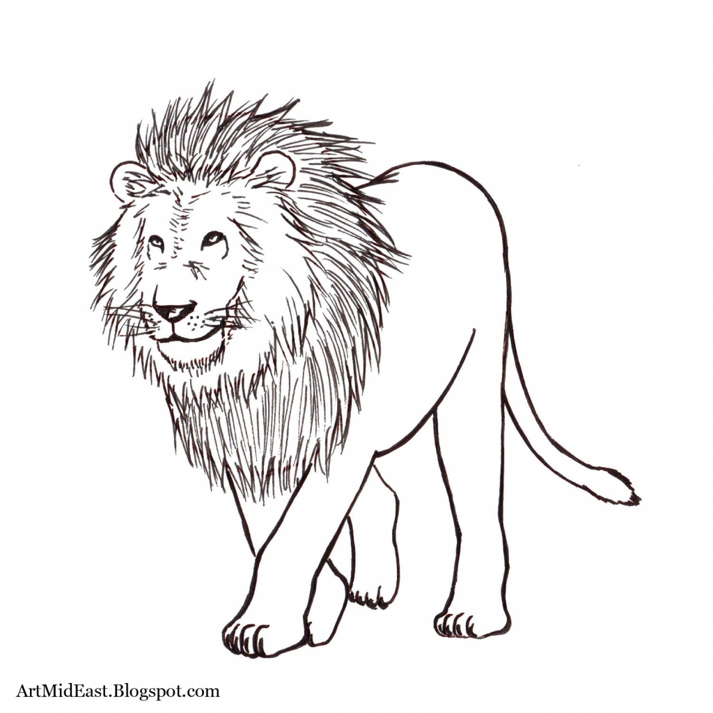 1024x1024 Lion Drawing For Kids Lion How To Draw A Lion Easy Step Step