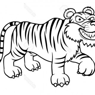 320x320 Tag For Image Of Simple Tiger Drawing Tiger Outline Drawing Art
