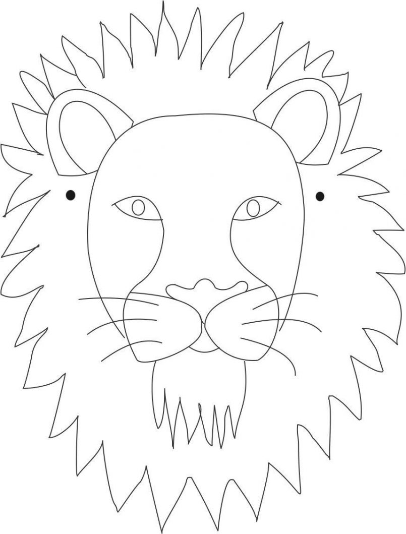 805x1059 Coloring How To Draw A Lion Face Step By Step Pencil