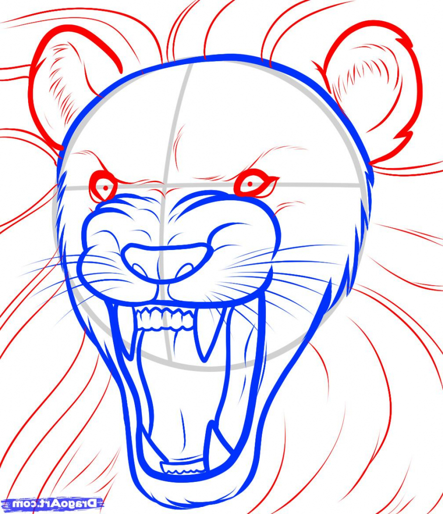 883x1024 Easy Lion Drawing Steps How To Draw A Lion Roaring Roaring Lion