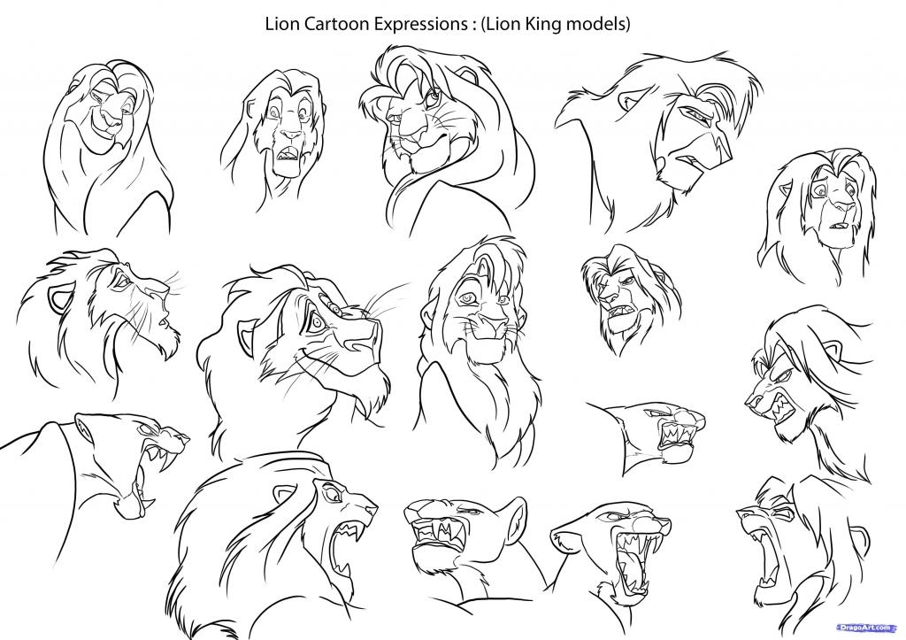 1024x723 How To Draw Cartoon Animals How To Draw Cartoon Lions Step Step