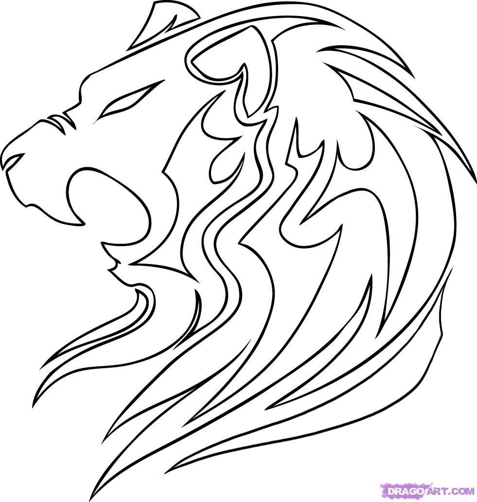 981x1032 Coloring How To Draw Lion Face Roaring Easylso How To Draw