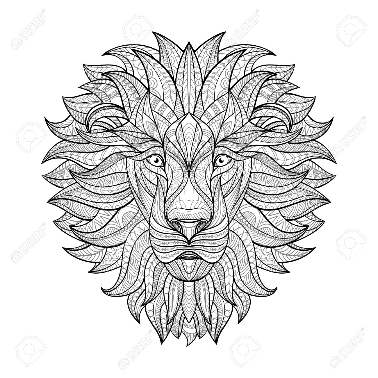 1300x1300 Detailed Lion In Aztec Style. Patterned Head Of The Lion