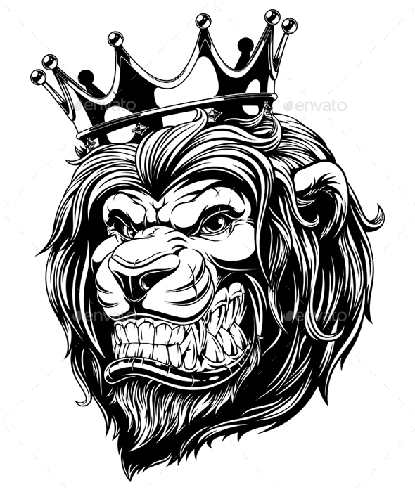 590x700 Head Of A Lion In The Crown By Andrey1005 Graphicriver