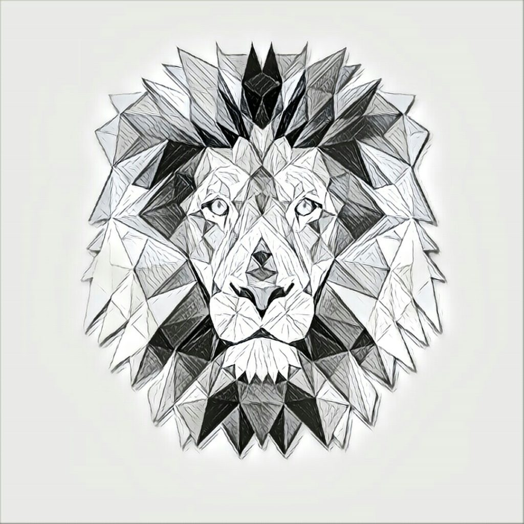 1024x1024 Lion Head Triangles 33 Painting