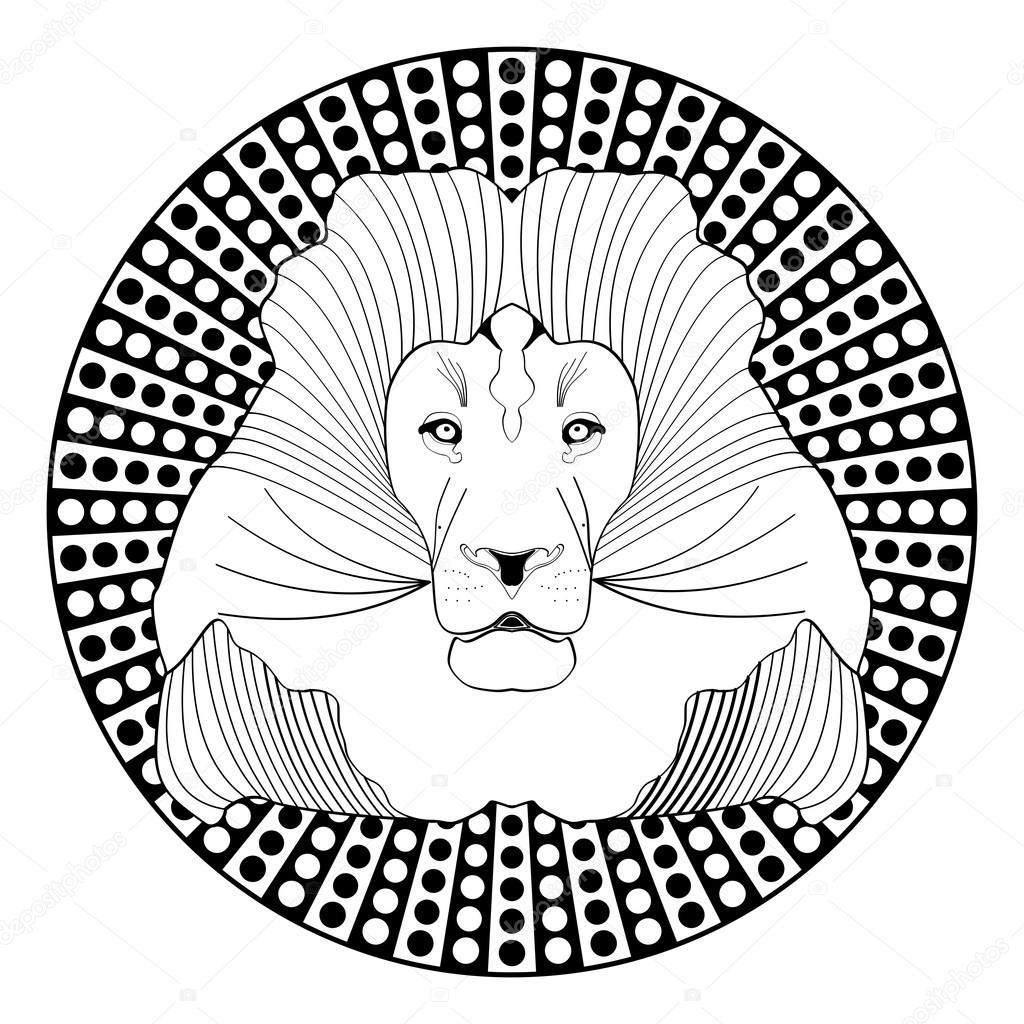 1024x1024 Lion Head, Patterned Symmetric Animal Drawing On Circle Dotted