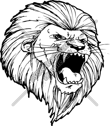 437x500 Lions Head Roaring Graphic Clipart And Vectorart Sports Mascots