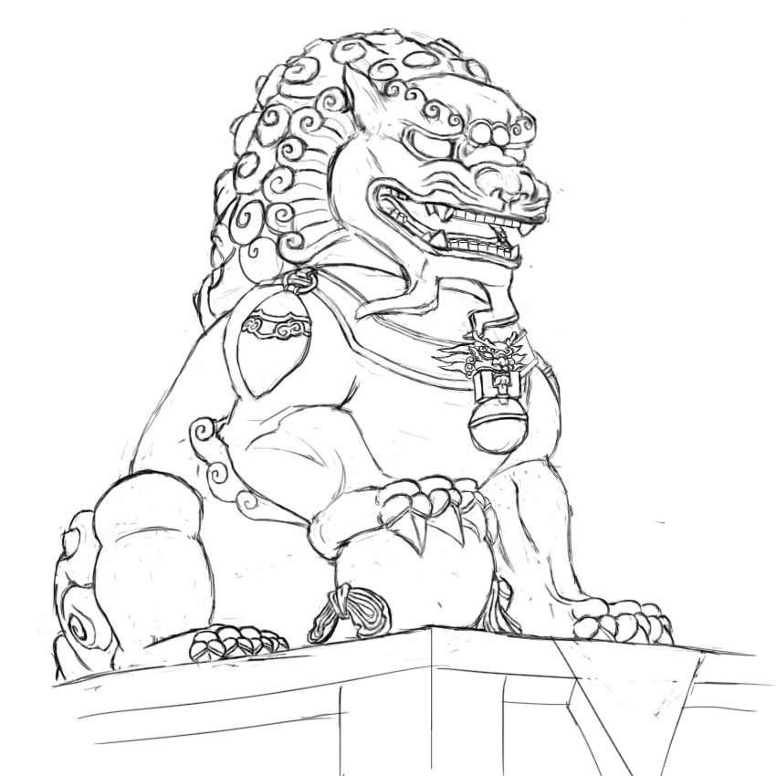 850x850 Chinese Guardian Lion Drawing