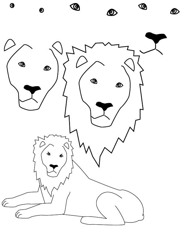 600x754 Drawing Lion