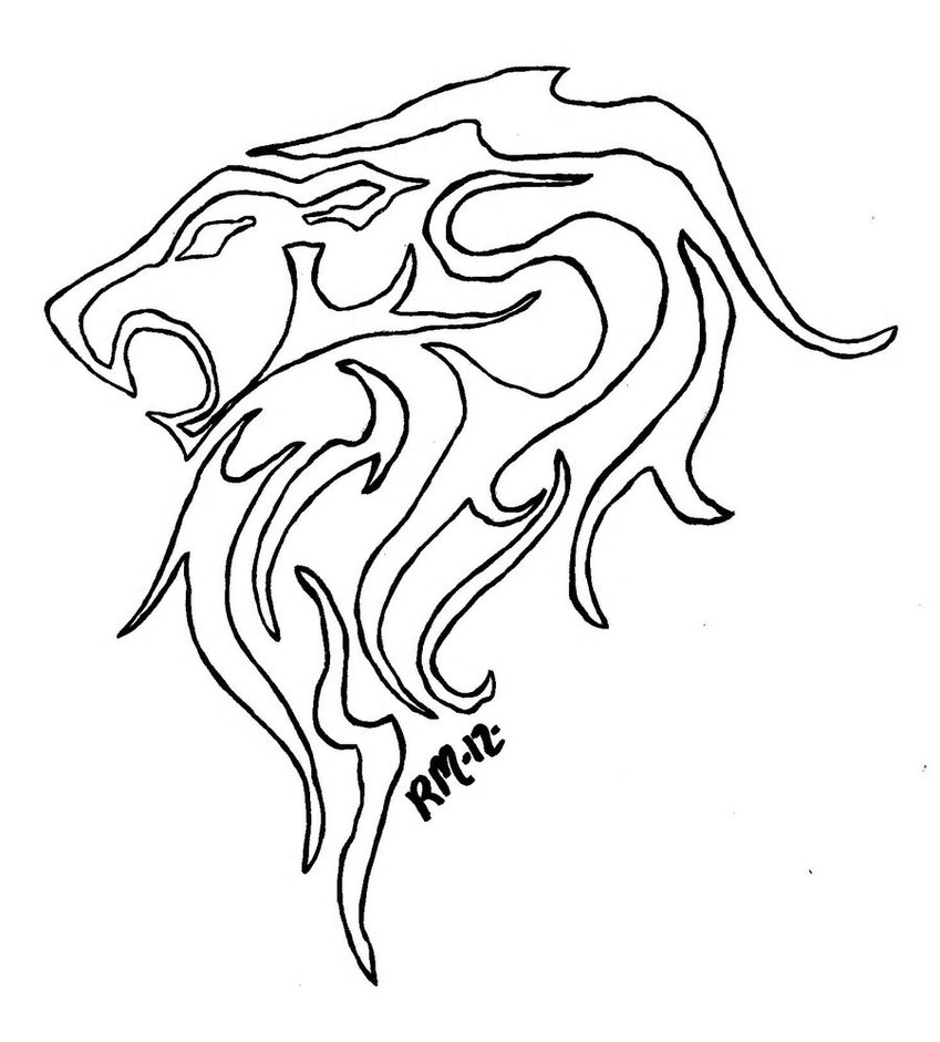 849x941 Eric's Lion Outline By Richardmeeker