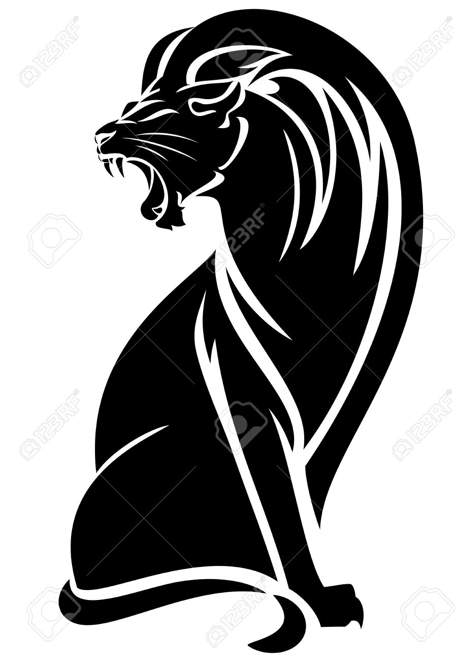 898x1300 Sitting Lion Black And White Vector Outline