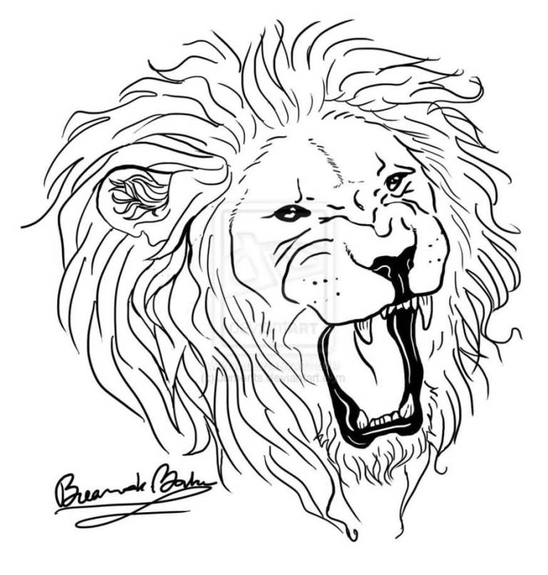 768x806 Collection Of Outline Lion Head Tattoo