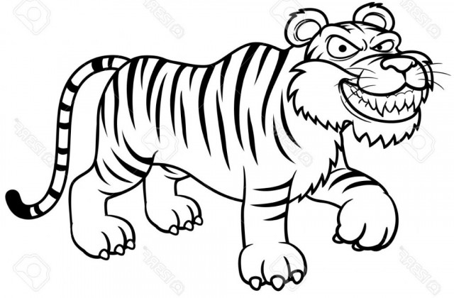 640x420 Tag For Image Of Simple Tiger Drawing Tiger Outline Drawing Art