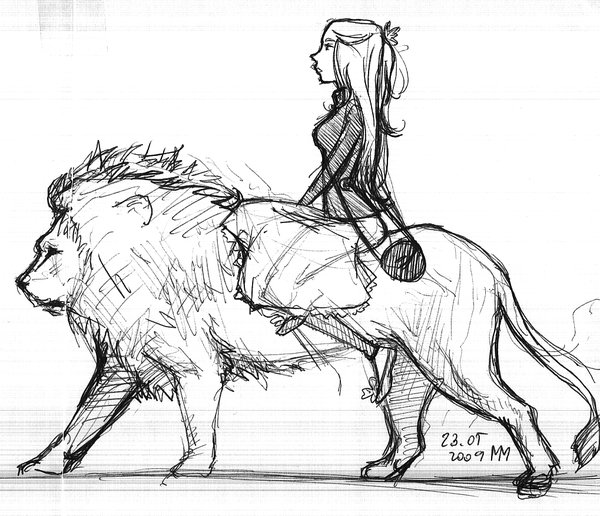 600x516 Girl And A Lion By Qmargot