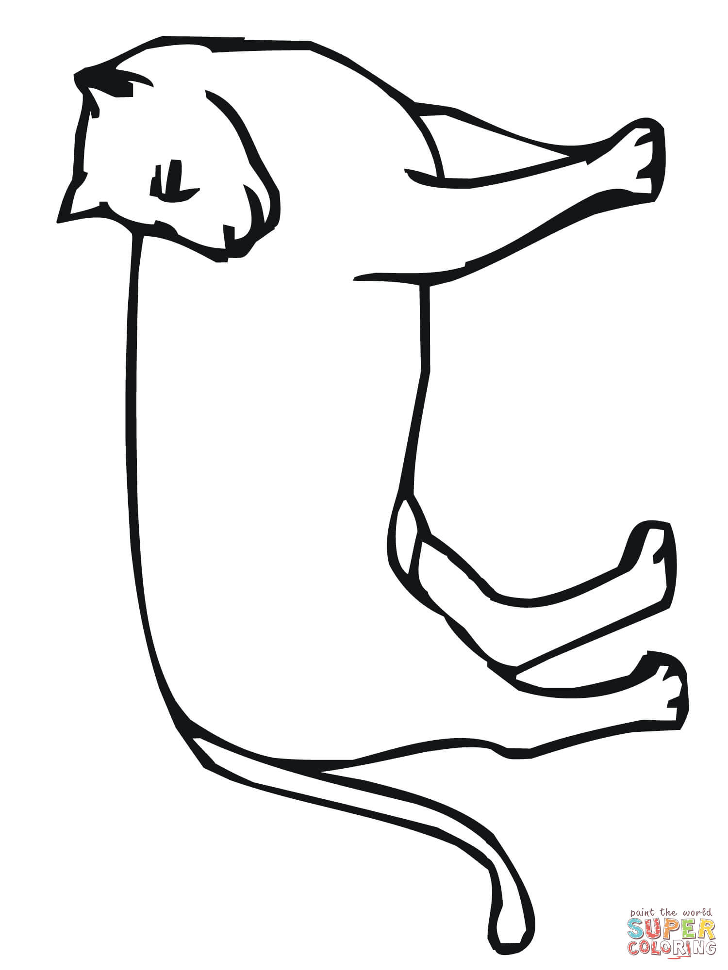 1500x2000 Mountain Lion Looks Back Coloring Page Free Printable Coloring Pages