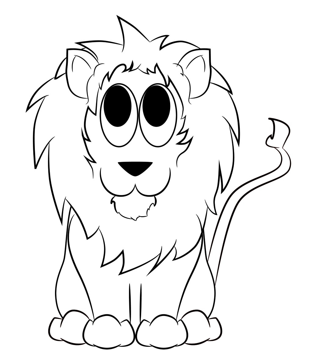 1080x1190 Simple Cartoon Drawing Of Lion