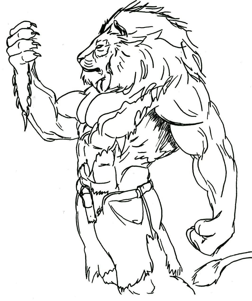 1064x1271 Muscular Lion Tattoo Design