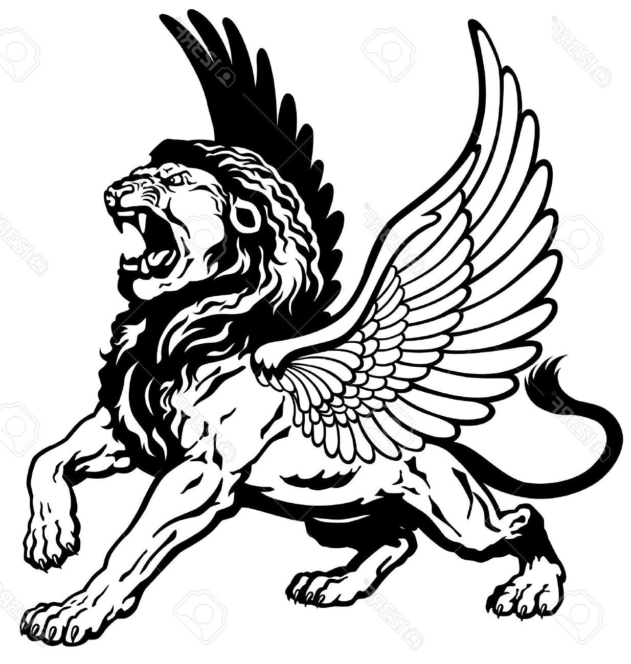 1234x1300 Top 10 Roaring Winged Lion Black And White Tattoo Image Stock