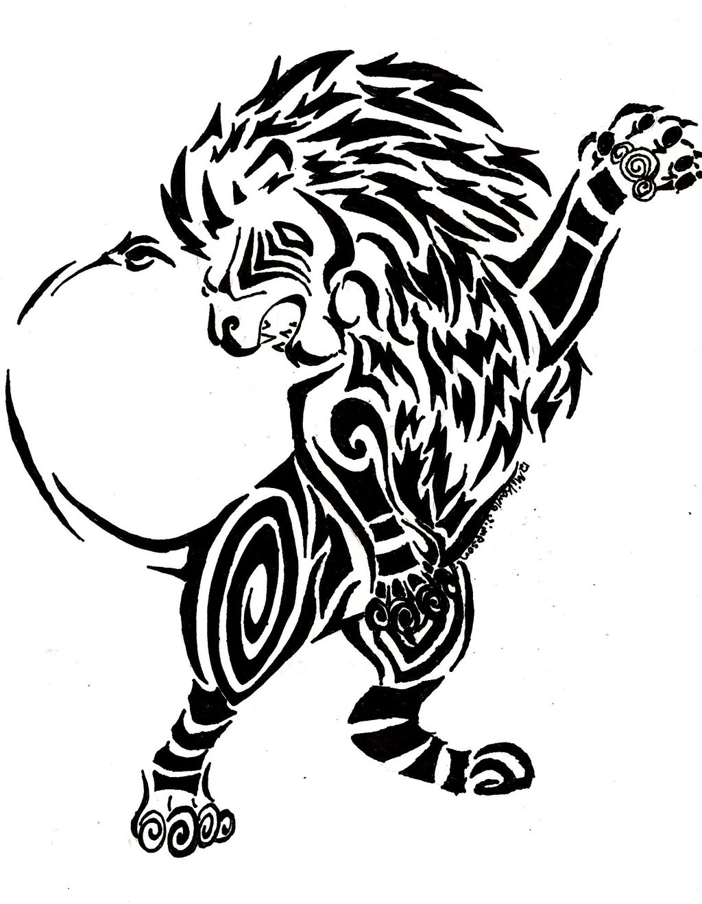 1024x1317 Tribal Lion Drawing How To Draw A Lion