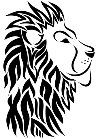340x480 Tribal Lion Tattoo Coloring Page Free Printable Coloring Pages