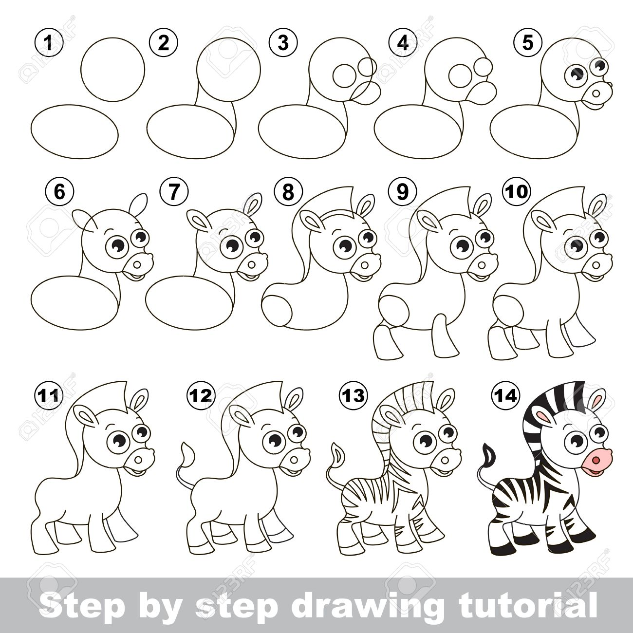 1300x1300 Drawing Tutorial For Children. How To Draw The Cute Zebra Royalty